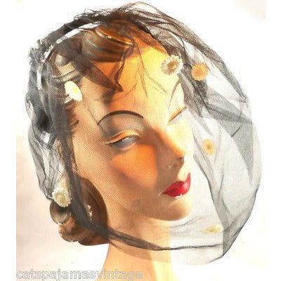 Vintage Black Tulle Headband Hat W/Appliqué 1950S - The Best Vintage Clothing  - 1