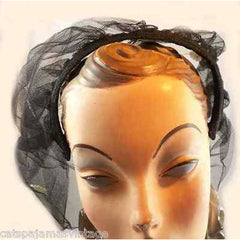 Vintage Black Tulle Headband Hat W/Appliqué 1950S - The Best Vintage Clothing  - 3