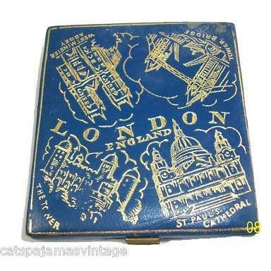 Vintage Blue Leather Embossed Compact London 1940S