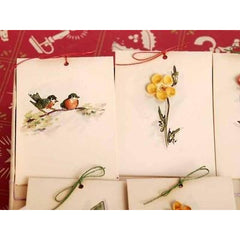 Vintage Box of Tally Cards Hand Painted 3D Birds Shells Flowers 1930s - The Best Vintage Clothing  - 2