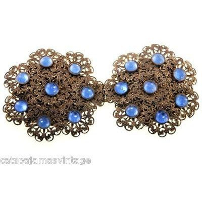 Vintage Brass Filigree Buckle Sapphire Blue Cabochon Stones 1930s