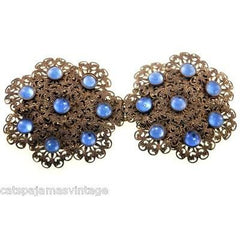 Vintage Brass Filigree Buckle Sapphire Blue Cabochon Stones 1930s - The Best Vintage Clothing  - 1