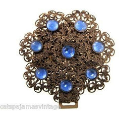 Vintage Brass Filigree Buckle Sapphire Blue Cabochon Stones 1930s - The Best Vintage Clothing  - 2