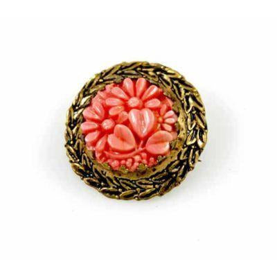 Antique  Brooch Carved Coral Plastic Round In Brass Set Victorian