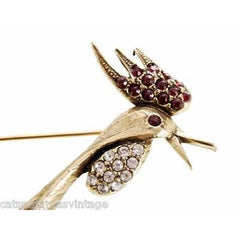 Vintage Brooch Huge Rooster w/Rhinestones Signed Jeanne 1960s - The Best Vintage Clothing  - 4