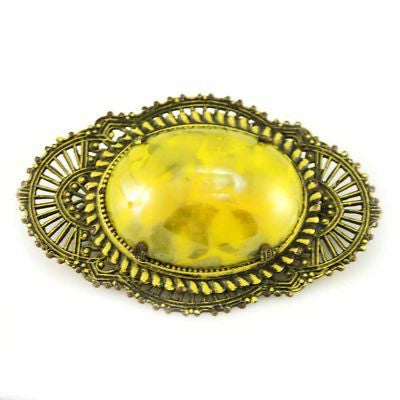 Vintage Brooch Large Early 1920s Art Deco Filigree/Mustard Stone  1920S - The Best Vintage Clothing  - 1