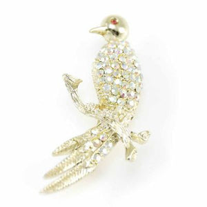 Vintage Brooch Perched Bird/Aurora Borealis Rhinestone Brooch 1950S - The Best Vintage Clothing  - 1