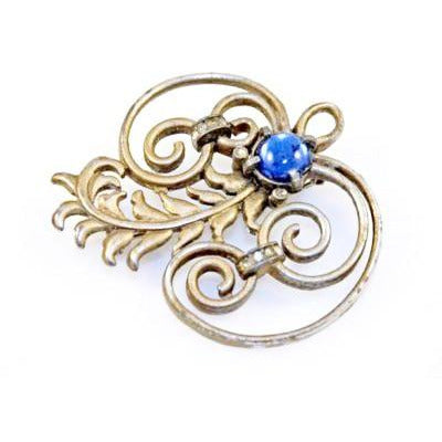 Vintage Brooch Silver Tone Swirl Cobalt Stone 1940S