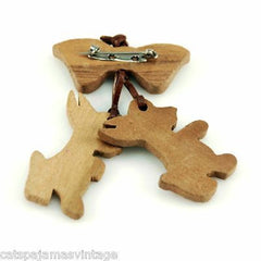 Vintage Brooch Wooden Folk Art Scotty Dogs 1940S - The Best Vintage Clothing  - 2