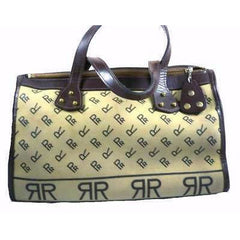 Vintage Brown Canvas/Vinyl Satchel Purse RR Monogram Print 1970'S - The Best Vintage Clothing  - 2