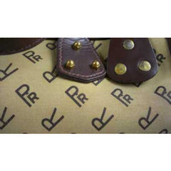 Vintage Brown Canvas/Vinyl Satchel Purse RR Monogram Print 1970'S - The Best Vintage Clothing  - 4
