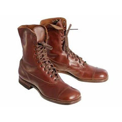 Vintage Brown Leather Boots Early  1920s Girls/Boys  Cap Toe NIB - The Best Vintage Clothing  - 2