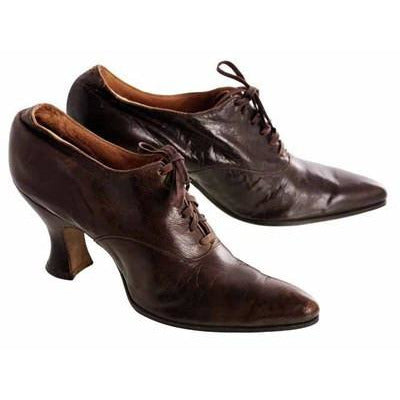 Vintage Brown Leather Ladies Shoes Louis Heels Oxfords S 7-7.5 Edwardian-1920