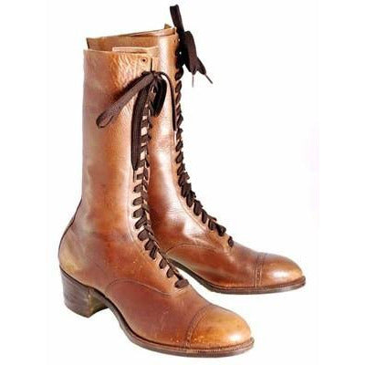 Vintage Brown Leather Ladies Tall Laceup Boots S 7-7.5 Edwardian-1920