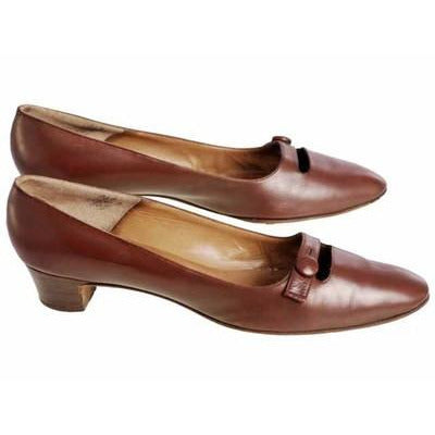 Vintage Womens Brown Leather Shoes Roger Vivier 1960s 9AA Box - The Best Vintage Clothing  - 1