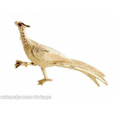 Vintage Signed BSK Pheasant or Road Runner Brooch 1960s - The Best Vintage Clothing  - 1