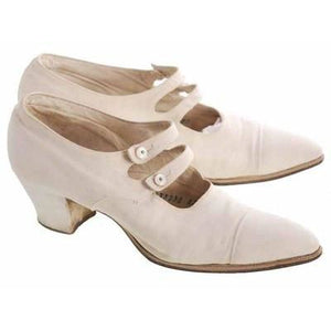 Vintage Canvas Mary Jane Shoes Ladies 7-7.5 Heels Dble Straps 1920s - The Best Vintage Clothing  - 1