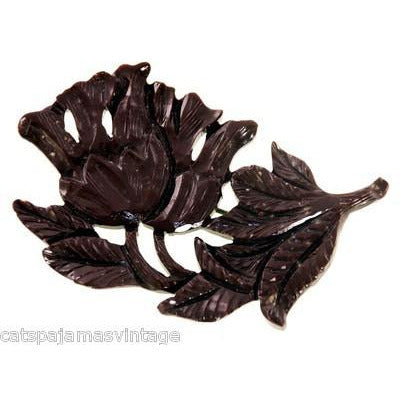 Vintage Carved Celluloid Brooch Unusual Brown Flower 1930s