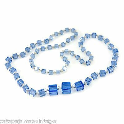 Vintage Chunky Blue Glass Square Beads Necklace 1920S - The Best Vintage Clothing  - 1