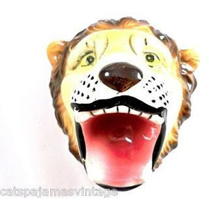 Vintage Circus Lion Wall Hanger Pottery Open Mouth Japan - The Best Vintage Clothing  - 1