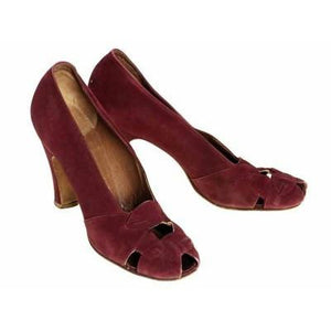 Vintage Womens Shoes Claret Red Suede Newton Elkin Peep Toe Pumps 1930S Size 7 - The Best Vintage Clothing  - 1