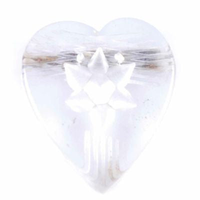 Vintage Clear Lucite Reverse-Carved Heart Pin 1940'S