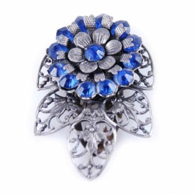 Vintage Cobalt Blue Filigree Dress Clip 1930'S