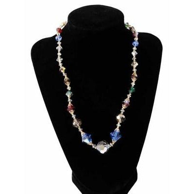 Vintage Colored Aurora Crystal Necklace 10Kt Clasp 18""