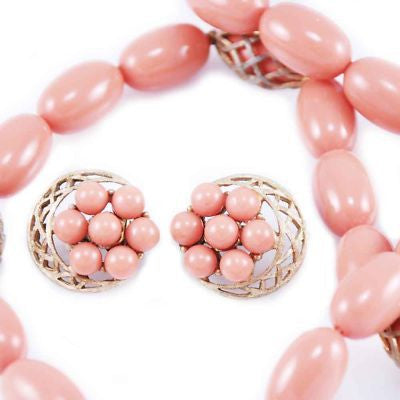 Vintage Coral-Colored Beads & Filigree Necklace W/Clip Earrings 1950'S - The Best Vintage Clothing  - 3