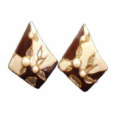 Vintage Diamond Shaped W/Pearl Pierced Earrings 1980S - The Best Vintage Clothing  - 3