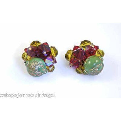 Vintage Earrings Red/Green Glass Faceted Clip 1950S