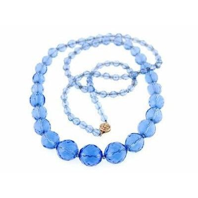 Vintage Estate Jewelry Necklace Blue Quartz Faceted Beads 14K - The Best Vintage Clothing
