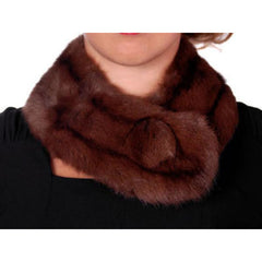 Vintage Fur Neck Scarf Brown Squirrel/ Large Button 1950S - The Best Vintage Clothing  - 2