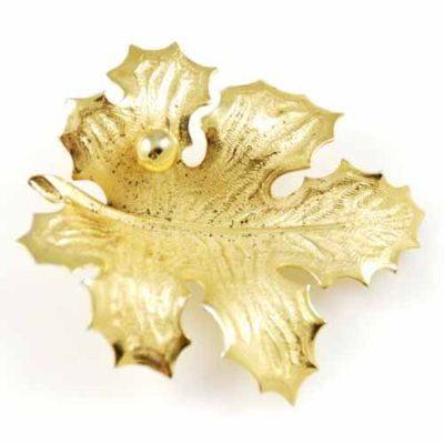 Vintage Giovanni Leaf Brooch W/Rain Drop 1950'S