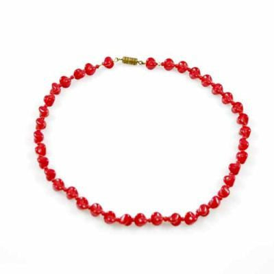 "Vintage Glass Necklace Red Oblique Beads 1940S 15"" - The Best Vintage Clothing  - 1"