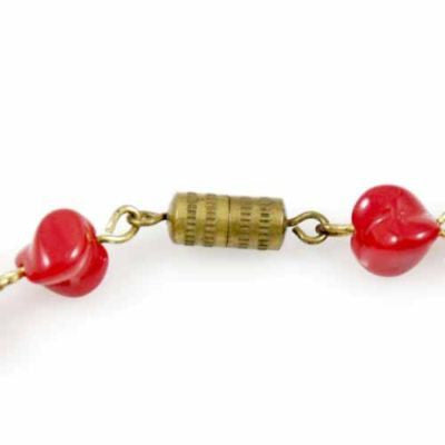 "Vintage Glass Necklace Red Oblique Beads 1940S 15"" - The Best Vintage Clothing  - 2"