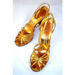 Vintage Gold Leather Sandals Ankle Strap 1940'S BonWit Teller Fifth Ave Sz 7 - The Best Vintage Clothing  - 2