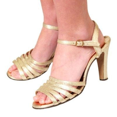 Vintage Gold Metallic High Heel Evening Sandals 1980S Sz 8 - The Best Vintage Clothing  - 2