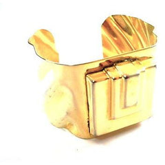 Vintage Gold Tone Geometric Cubist Cuff Bracelet 1980S - The Best Vintage Clothing  - 1