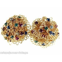 Vintage Goldtone/Colorful Abstract Wire Rhinestone Brooch & Clip Earrings 1960s - The Best Vintage Clothing  - 3