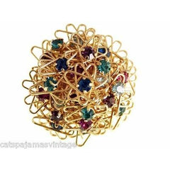 Vintage Goldtone/Colorful Abstract Wire Rhinestone Brooch & Clip Earrings 1960s - The Best Vintage Clothing  - 4