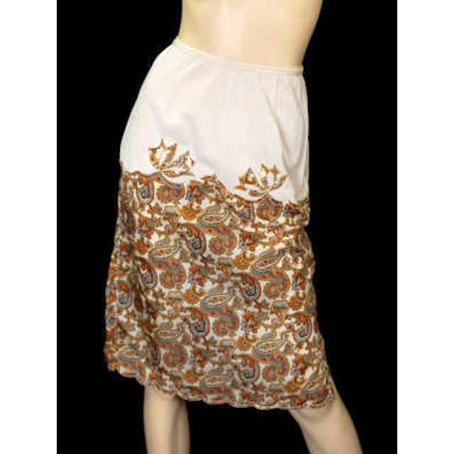 Vintage Half Slip Silk Paisley Appliqué Elizabeth Arden 1950S Small - The Best Vintage Clothing  - 1