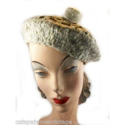 Vintage Hand Knit Hat Huge Beret 1940'S - The Best Vintage Clothing  - 1