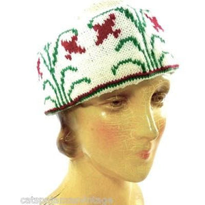 Vintage Arts & Crafts Era Hand Knit Wool Hat Cap Floral Pattern Mens Womens - The Best Vintage Clothing  - 1