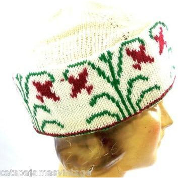 Vintage Arts & Crafts Era Hand Knit Wool Hat Cap Floral Pattern Mens Womens - The Best Vintage Clothing  - 3