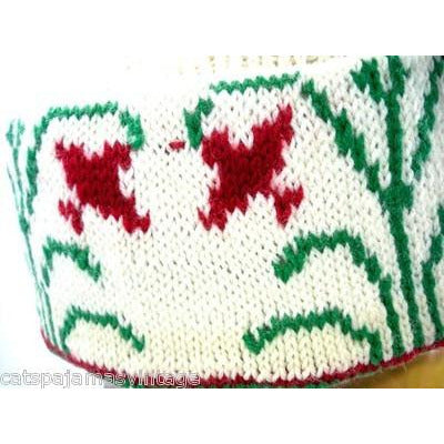 Vintage Arts & Crafts Era Hand Knit Wool Hat Cap Floral Pattern Mens Womens - The Best Vintage Clothing  - 2