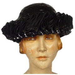 "Vintage Hat Black ""Ribbon Candy""  Straw 1950S - The Best Vintage Clothing  - 1"