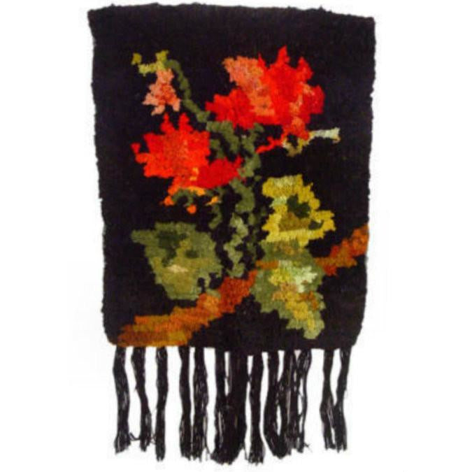 Vintage Hooked Rug Wall Hanging Black Background 1970s - The Best Vintage Clothing