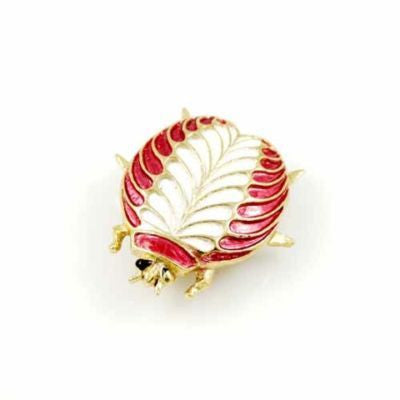 Vintage J.J. Signed  Red Enameled Beetle Pin 1950'S - The Best Vintage Clothing  - 1