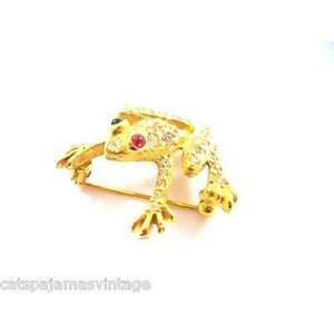 Vintage Jomaz Rhinestone & Gold Frog Brooch Ruby Red  Eyes 1950s - The Best Vintage Clothing  - 1